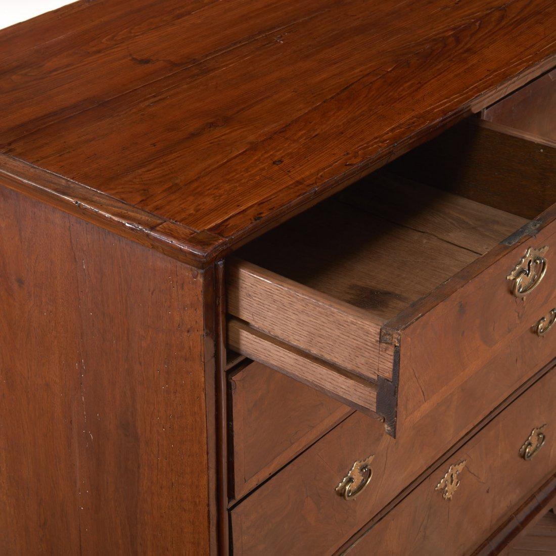 George II burled walnut chest of drawers - 4