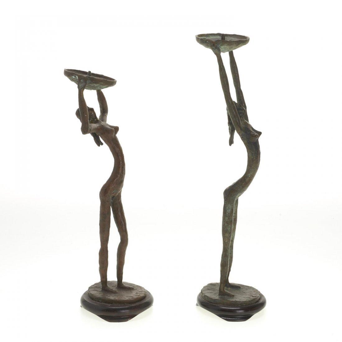 Pair Mid-Century figural bronze candlesticks - 2