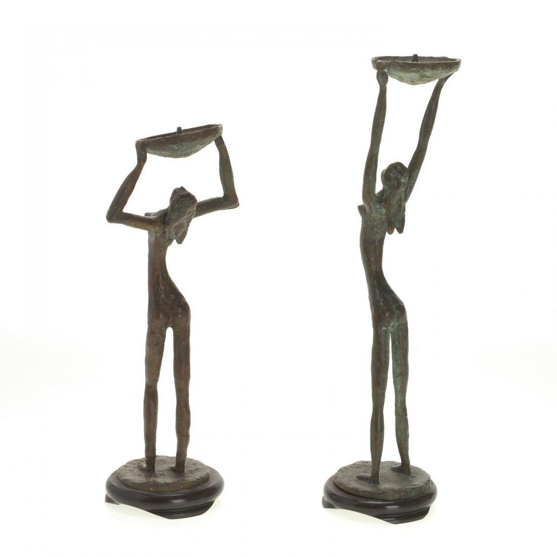 Pair Mid-Century figural bronze candlesticks - 3