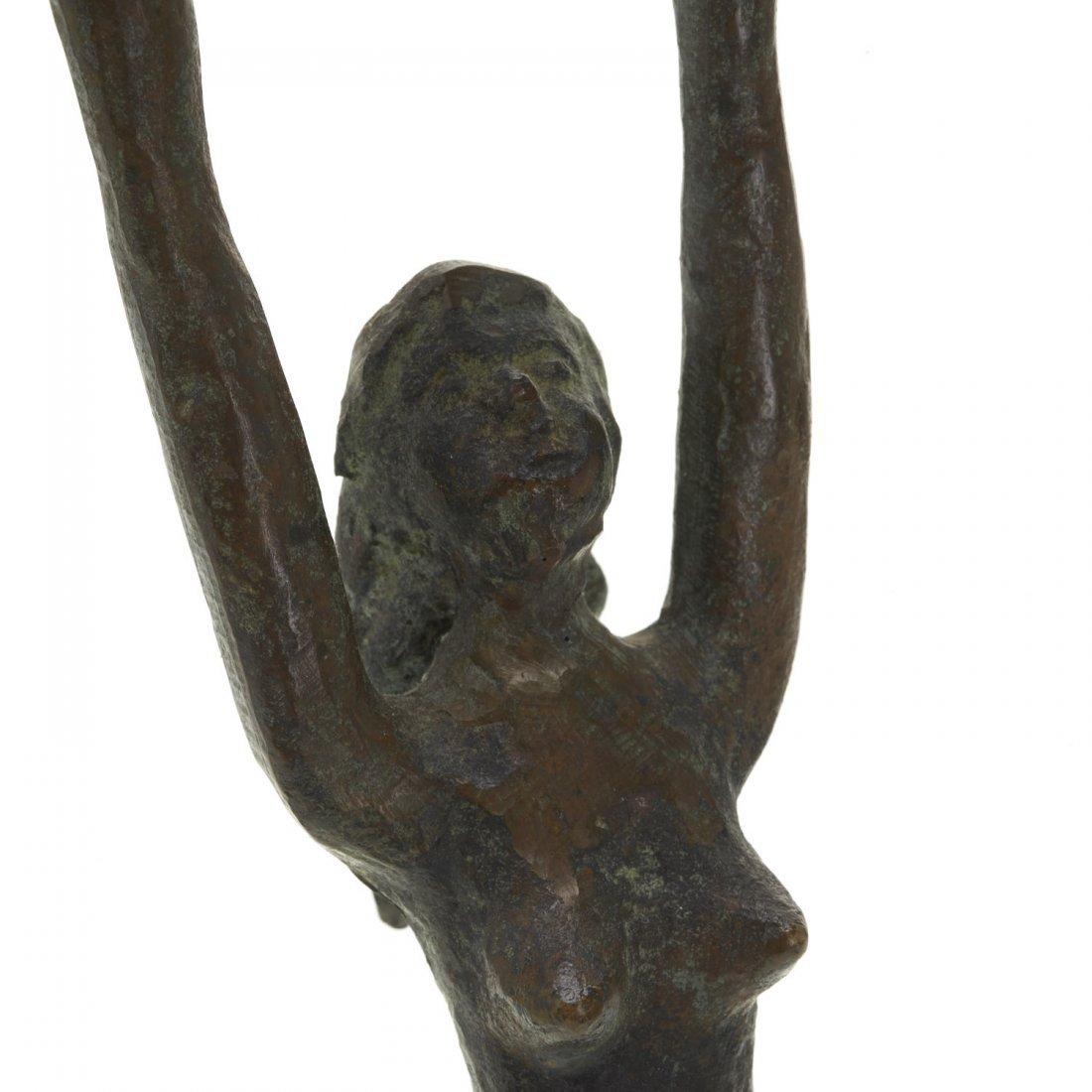 Pair Mid-Century figural bronze candlesticks - 5