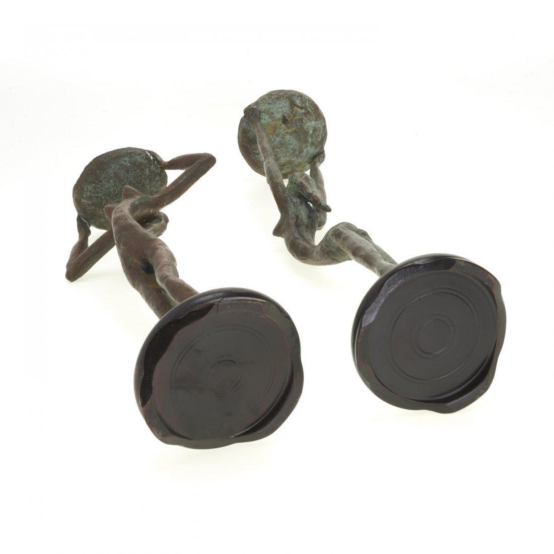 Pair Mid-Century figural bronze candlesticks - 9