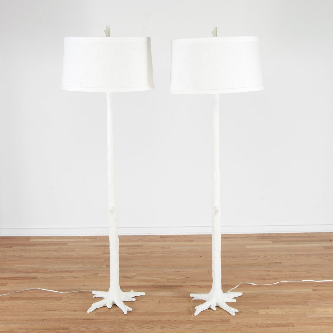 Pair Designer enameled tree branch floor lamps