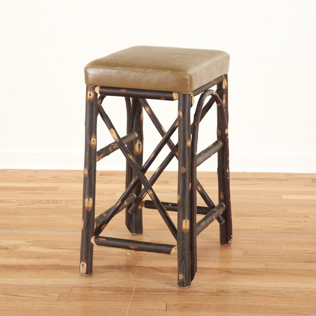 Christian Liaigre leather, chestnut stool - 2