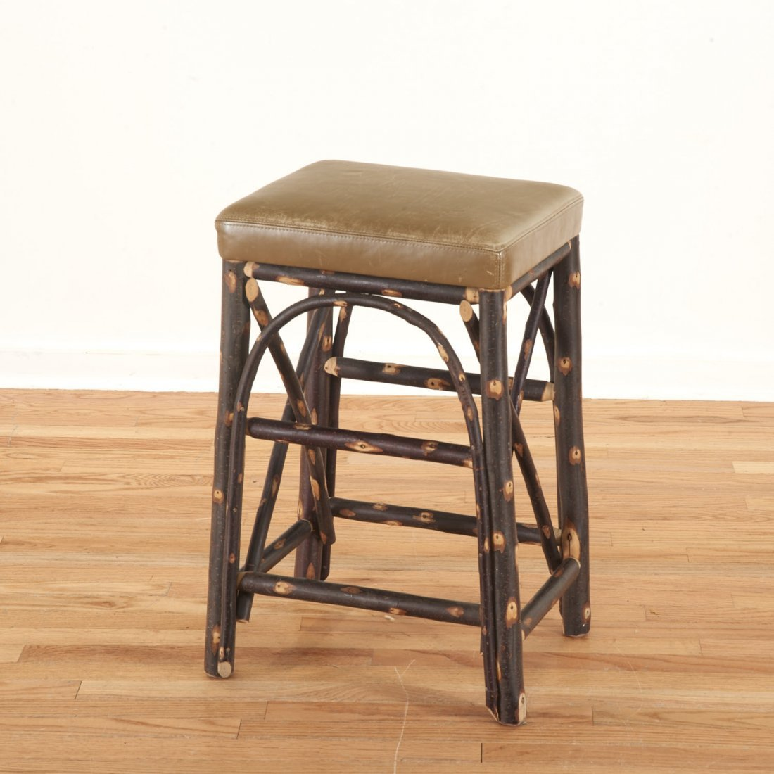 Christian Liaigre leather, chestnut stool - 3