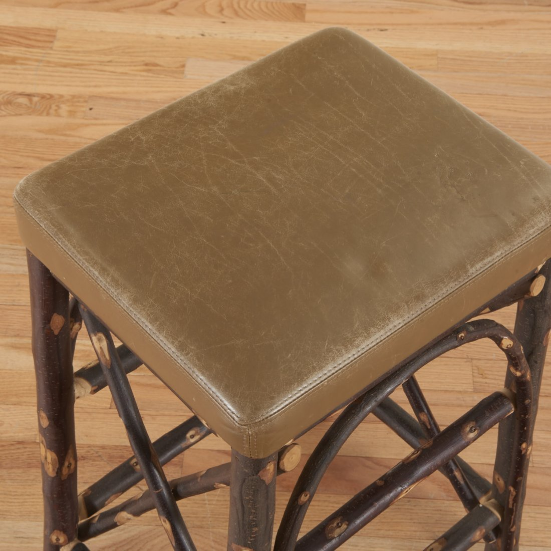 Christian Liaigre leather, chestnut stool - 6