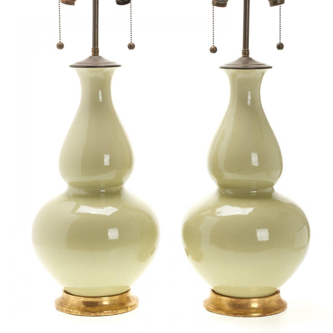 Pair Christopher Spitzmiller green ceramic lamps