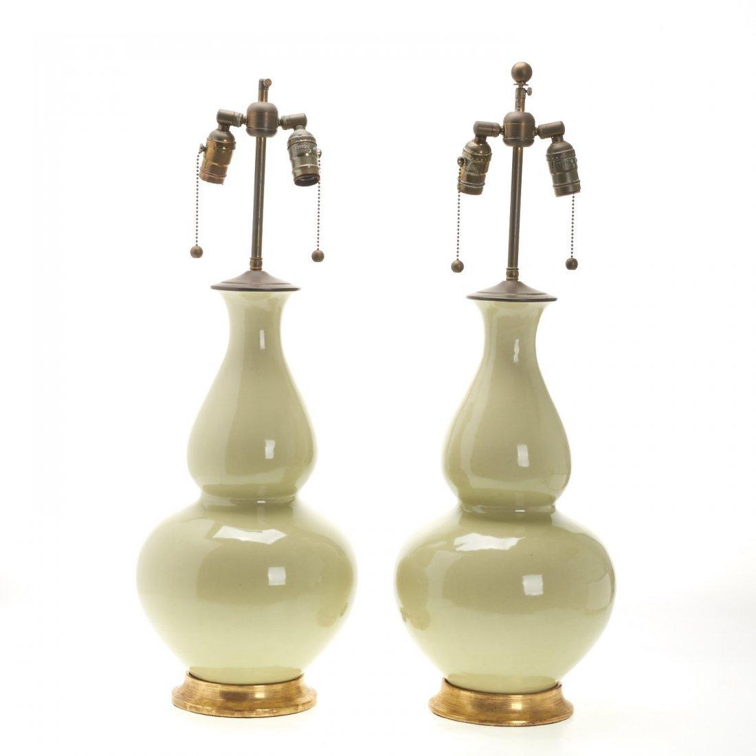 Pair Christopher Spitzmiller green ceramic lamps - 2