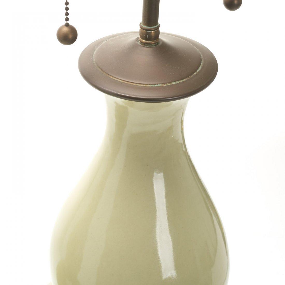 Pair Christopher Spitzmiller green ceramic lamps - 3