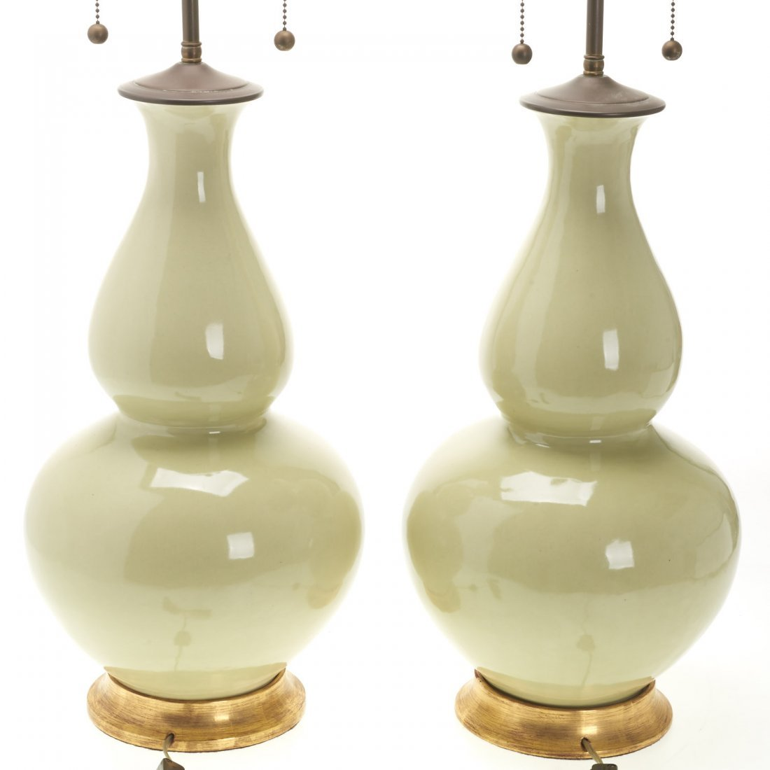 Pair Christopher Spitzmiller green ceramic lamps - 4