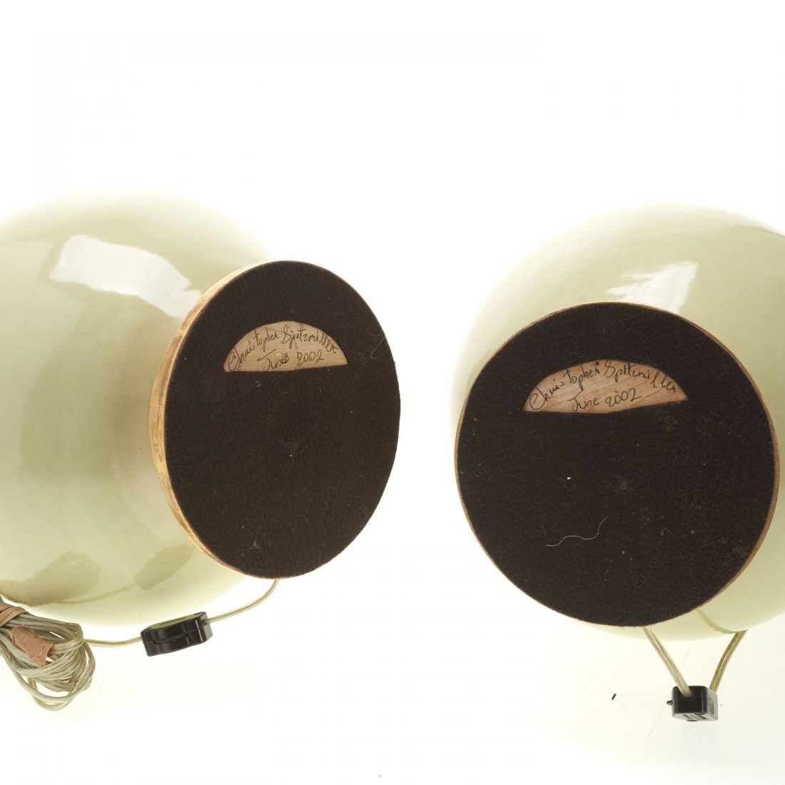 Pair Christopher Spitzmiller green ceramic lamps - 6