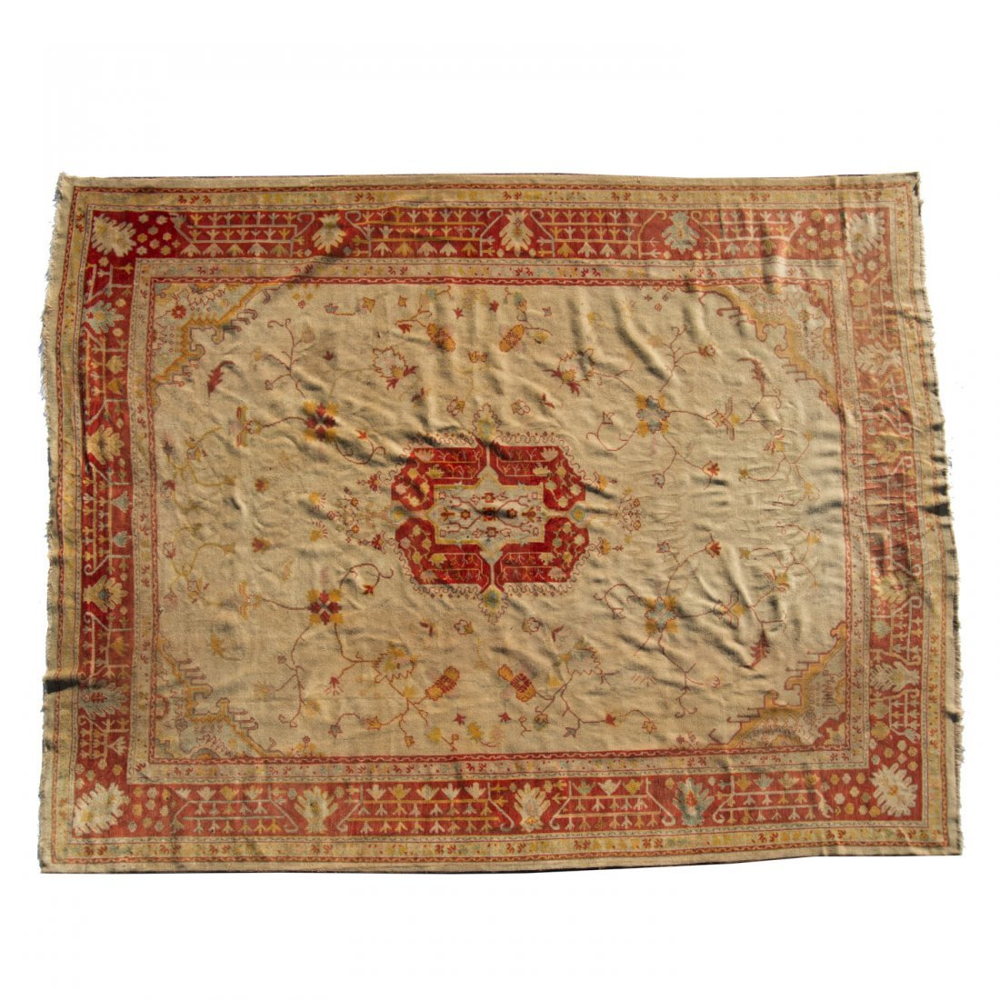 Room-size Oushak carpet