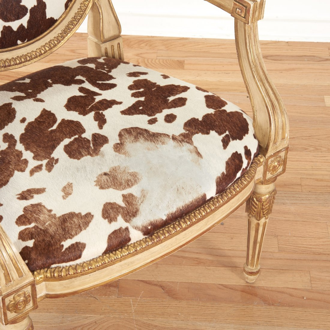 Louis XVI style cowhide fauteuil by Dennis & Leen - 2