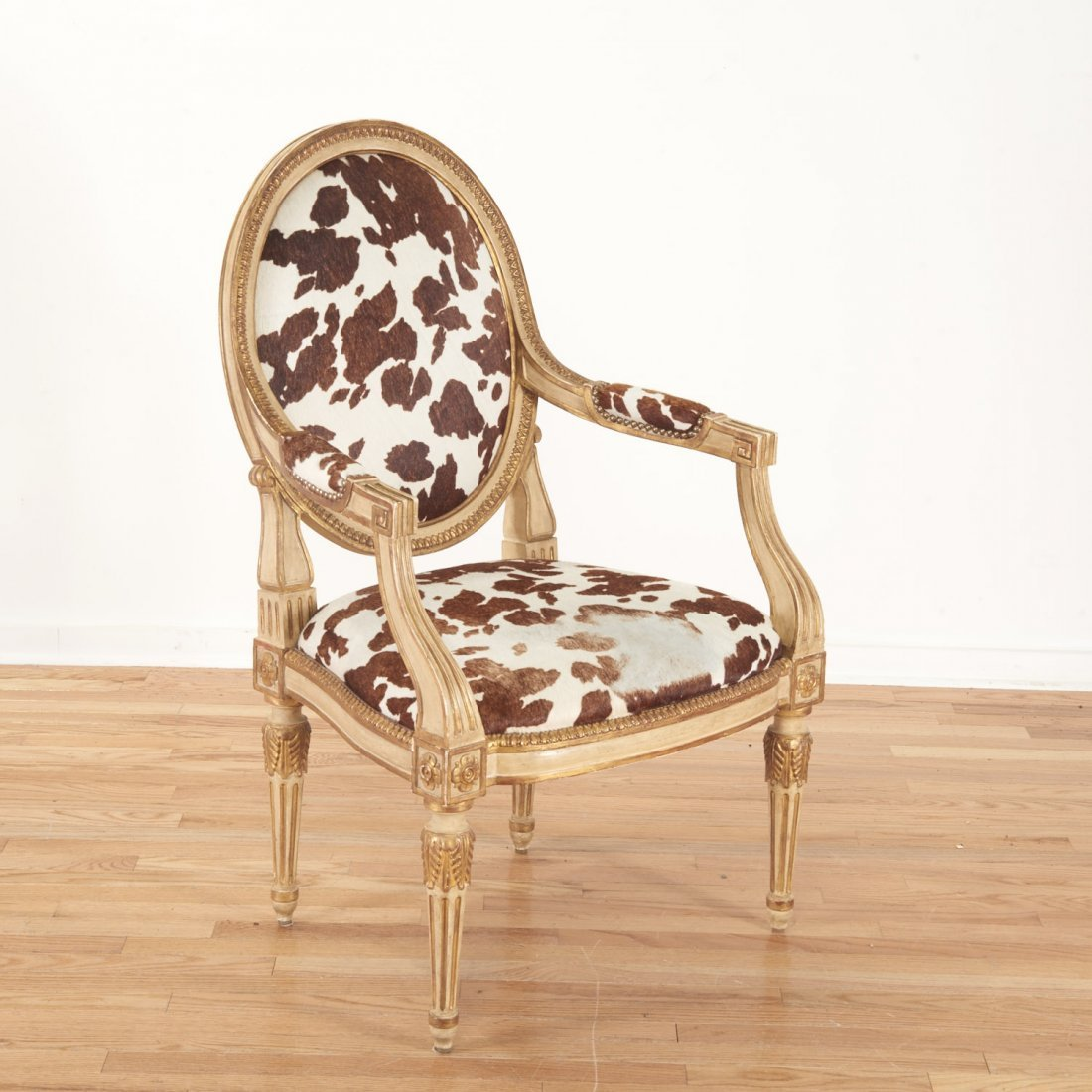 Louis XVI style cowhide fauteuil by Dennis & Leen - 3