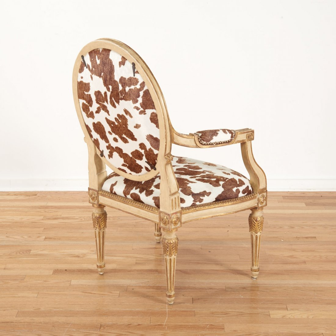 Louis XVI style cowhide fauteuil by Dennis & Leen - 5