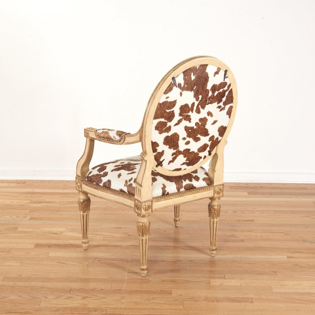 Louis XVI style cowhide fauteuil by Dennis & Leen - 6