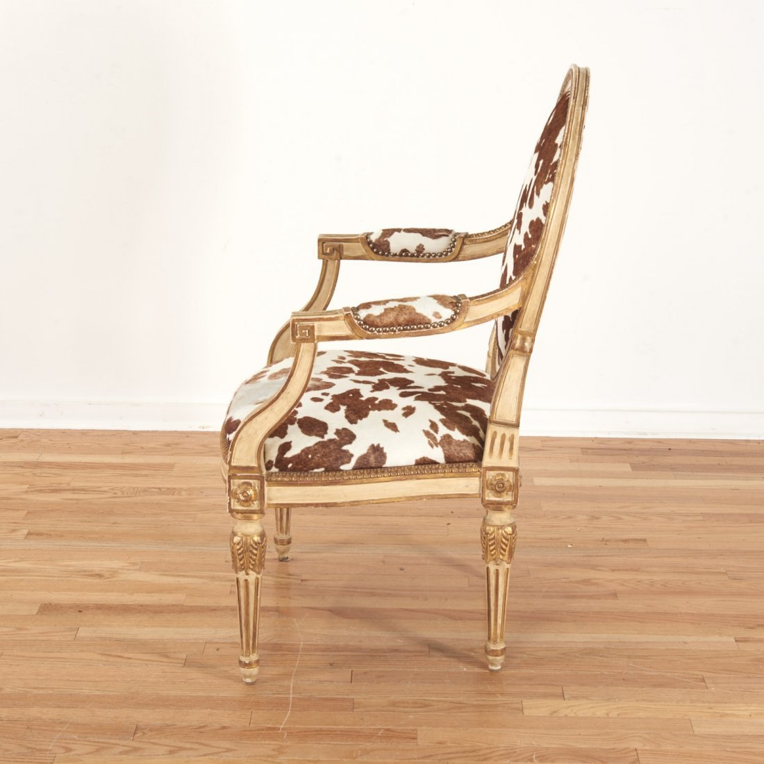 Louis XVI style cowhide fauteuil by Dennis & Leen - 7