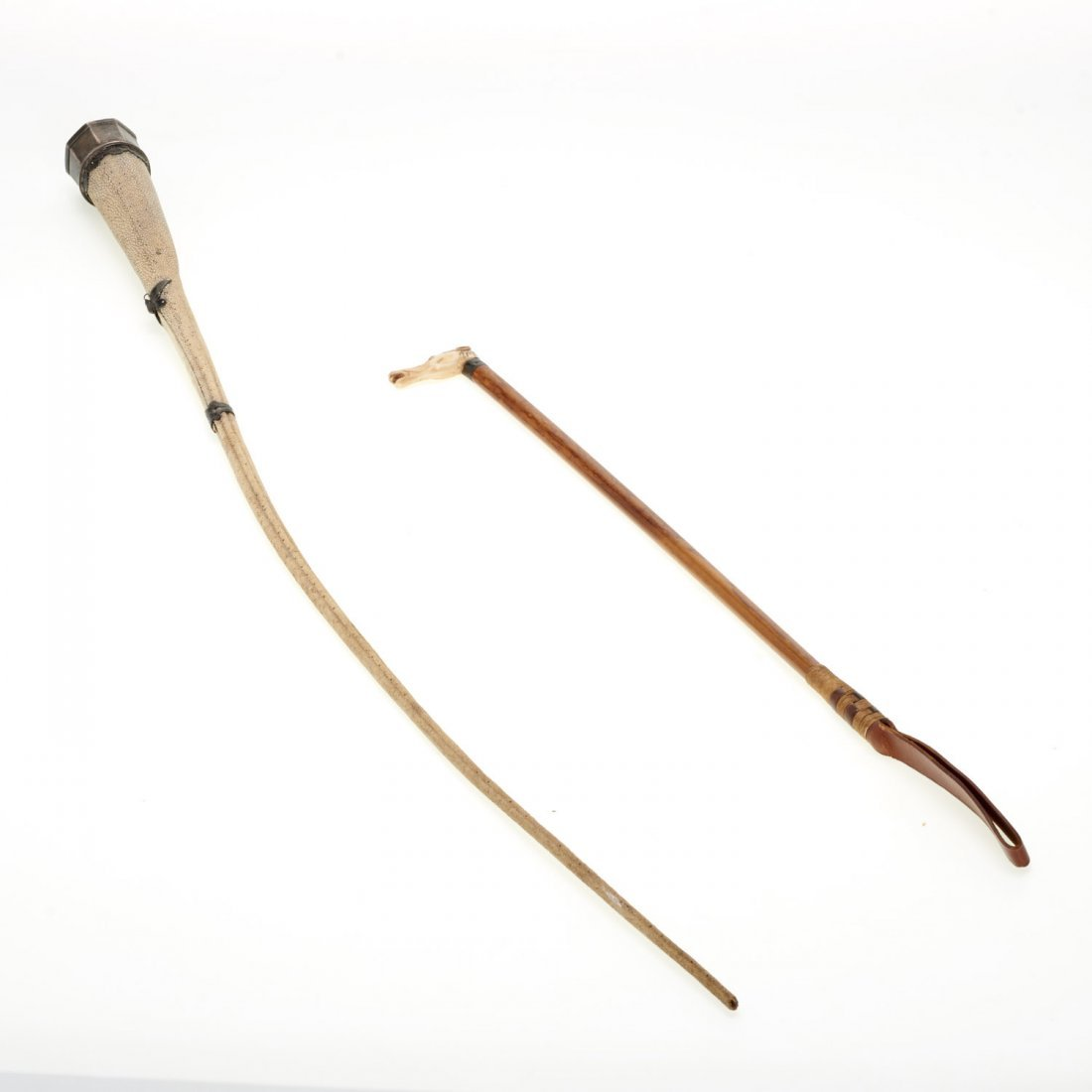(2) Antique shagreen and hardwood riding crops