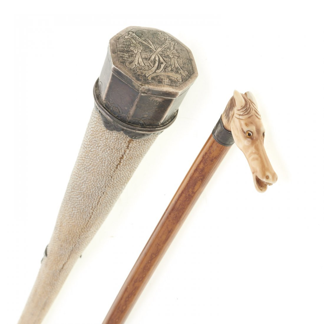 (2) Antique shagreen and hardwood riding crops - 8
