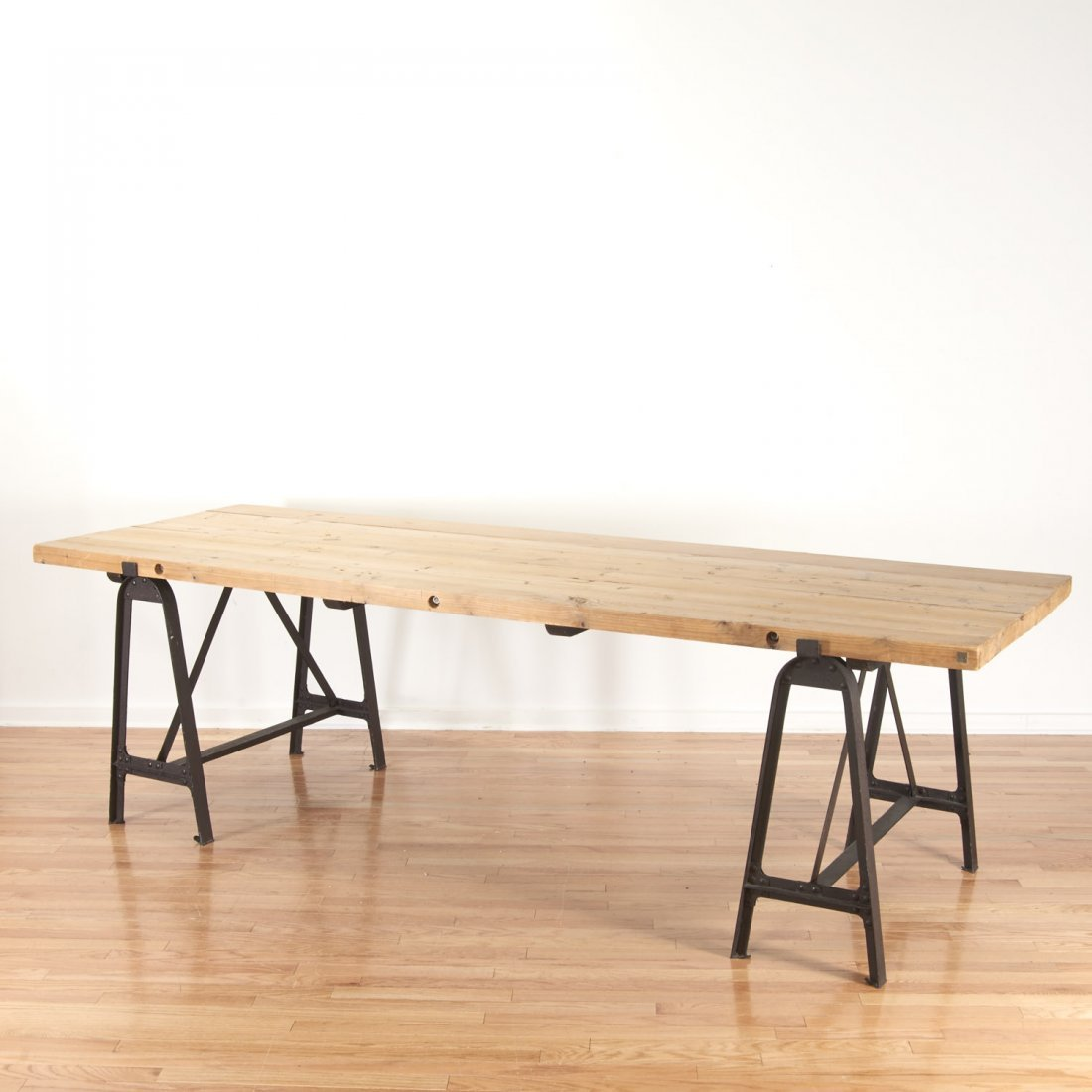 Industrial cast iron, reclaimed wood dining table - 5