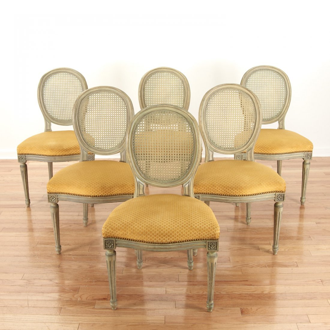 Set (6) Louis XVI style green painted side chairs