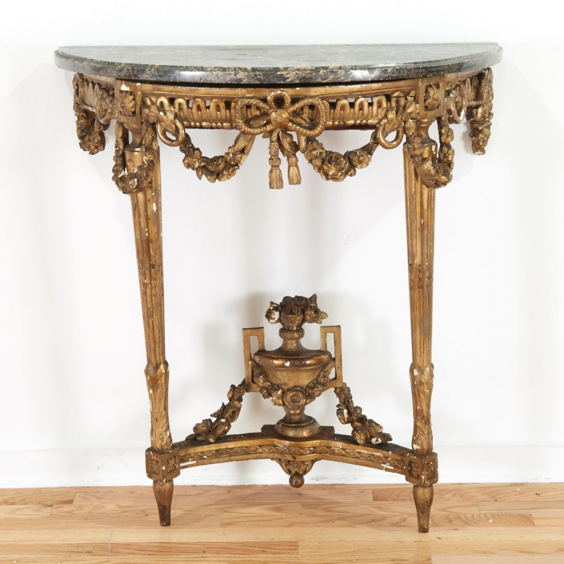 Louis XVI style marble top giltwood console