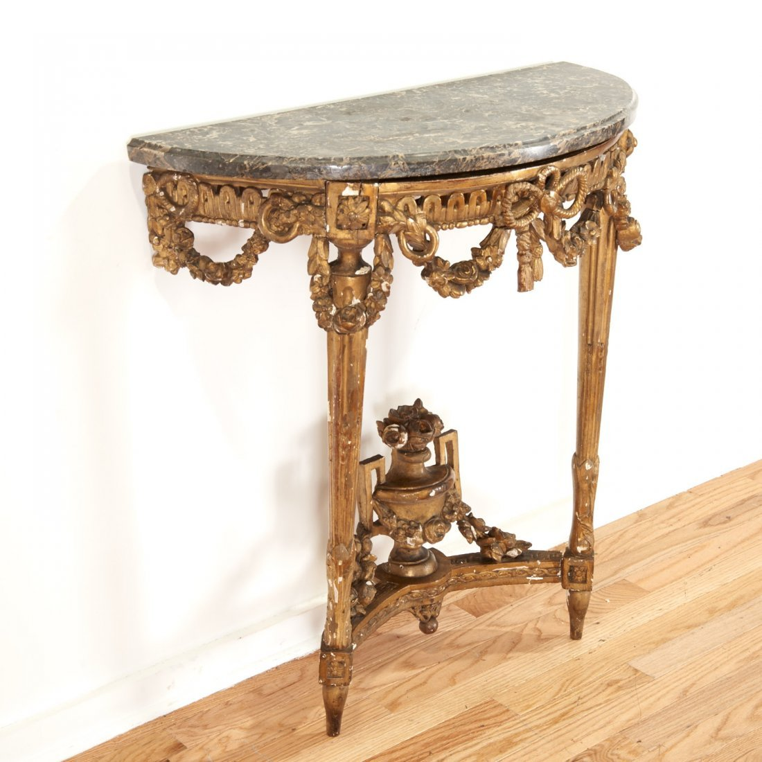 Louis XVI style marble top giltwood console - 2