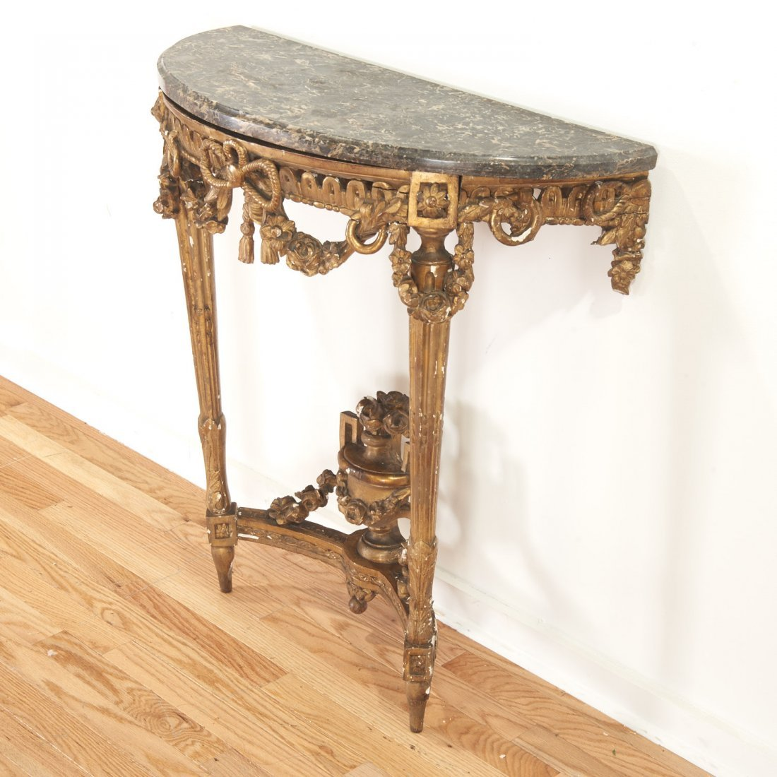 Louis XVI style marble top giltwood console - 3