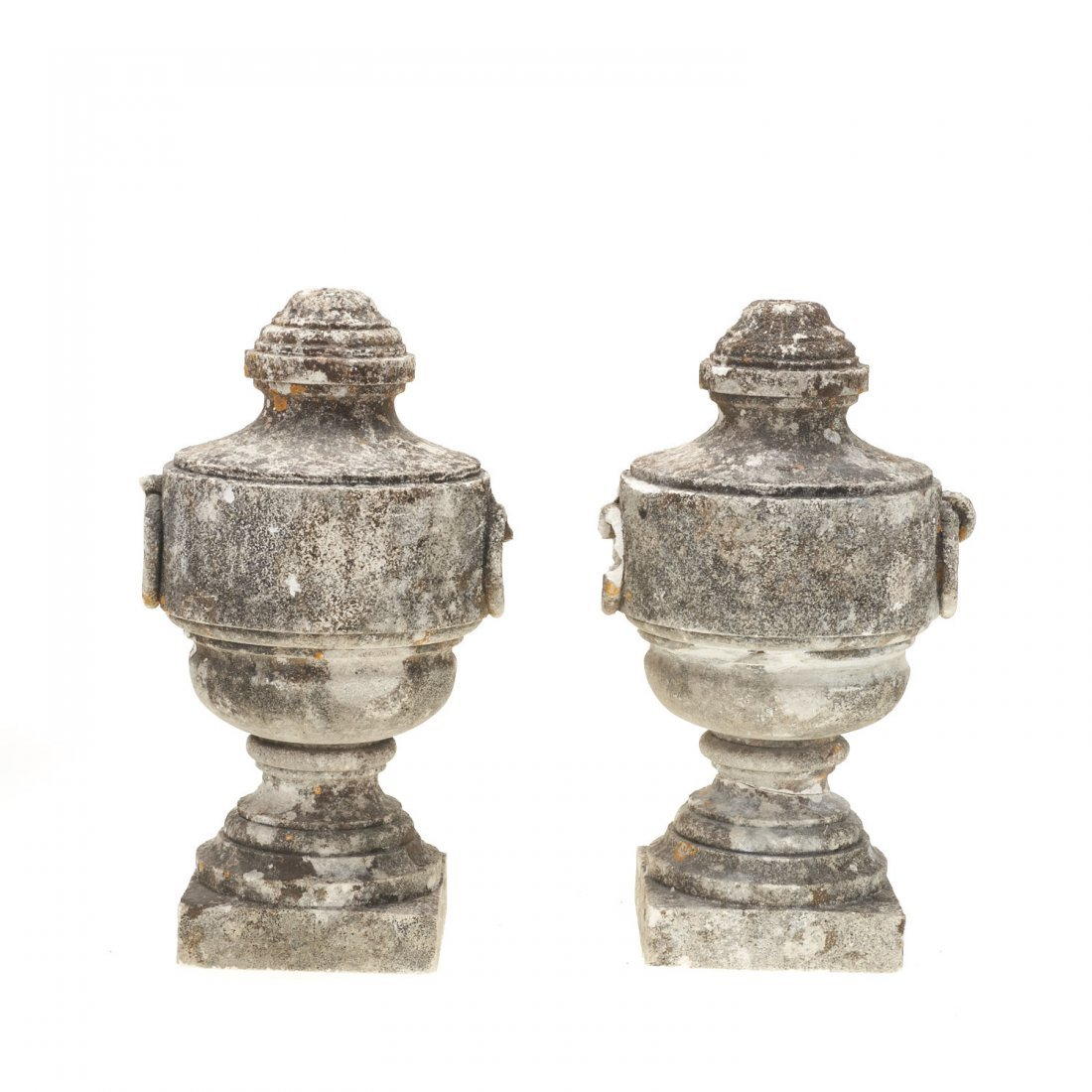 Pair Neo-Classical style cast stone urns