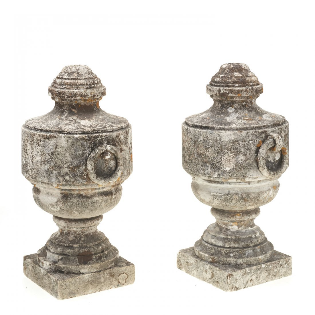 Pair Neo-Classical style cast stone urns - 2