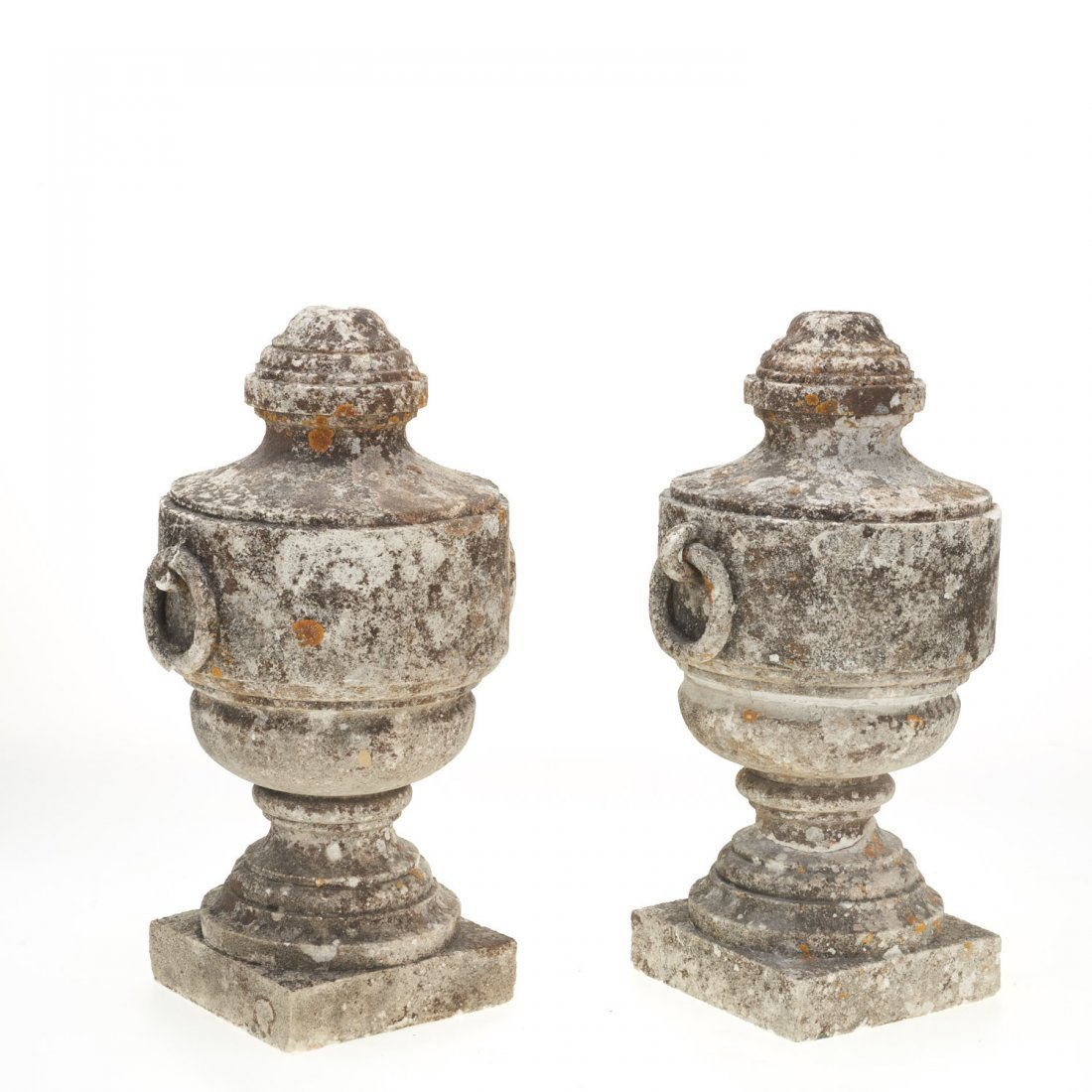 Pair Neo-Classical style cast stone urns - 3