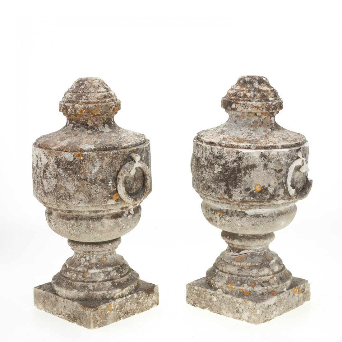 Pair Neo-Classical style cast stone urns - 5