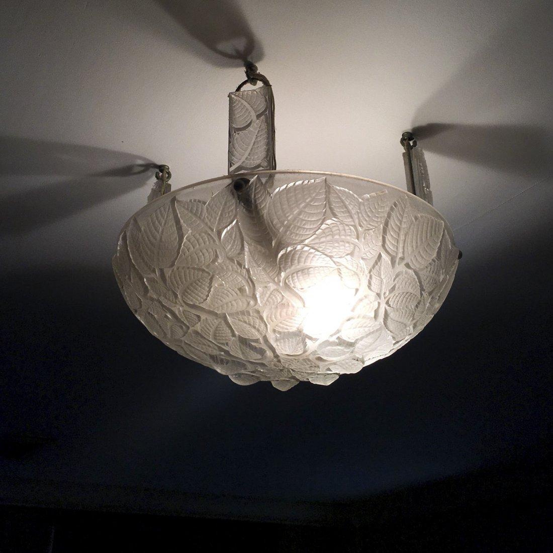 """R. Lalique """"Charmes"""" glass plafonnier"""