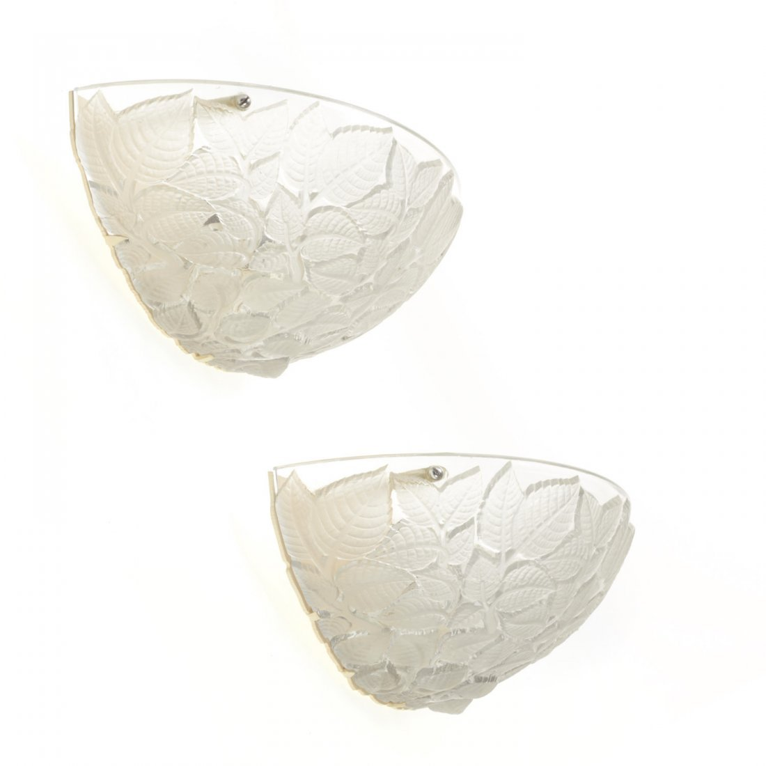 "Pair R. Lalique ""Charmes"" glass wall sconces - 4"