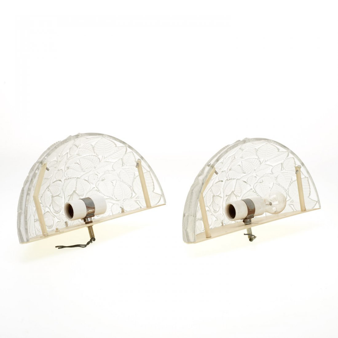 "Pair R. Lalique ""Charmes"" glass wall sconces - 6"