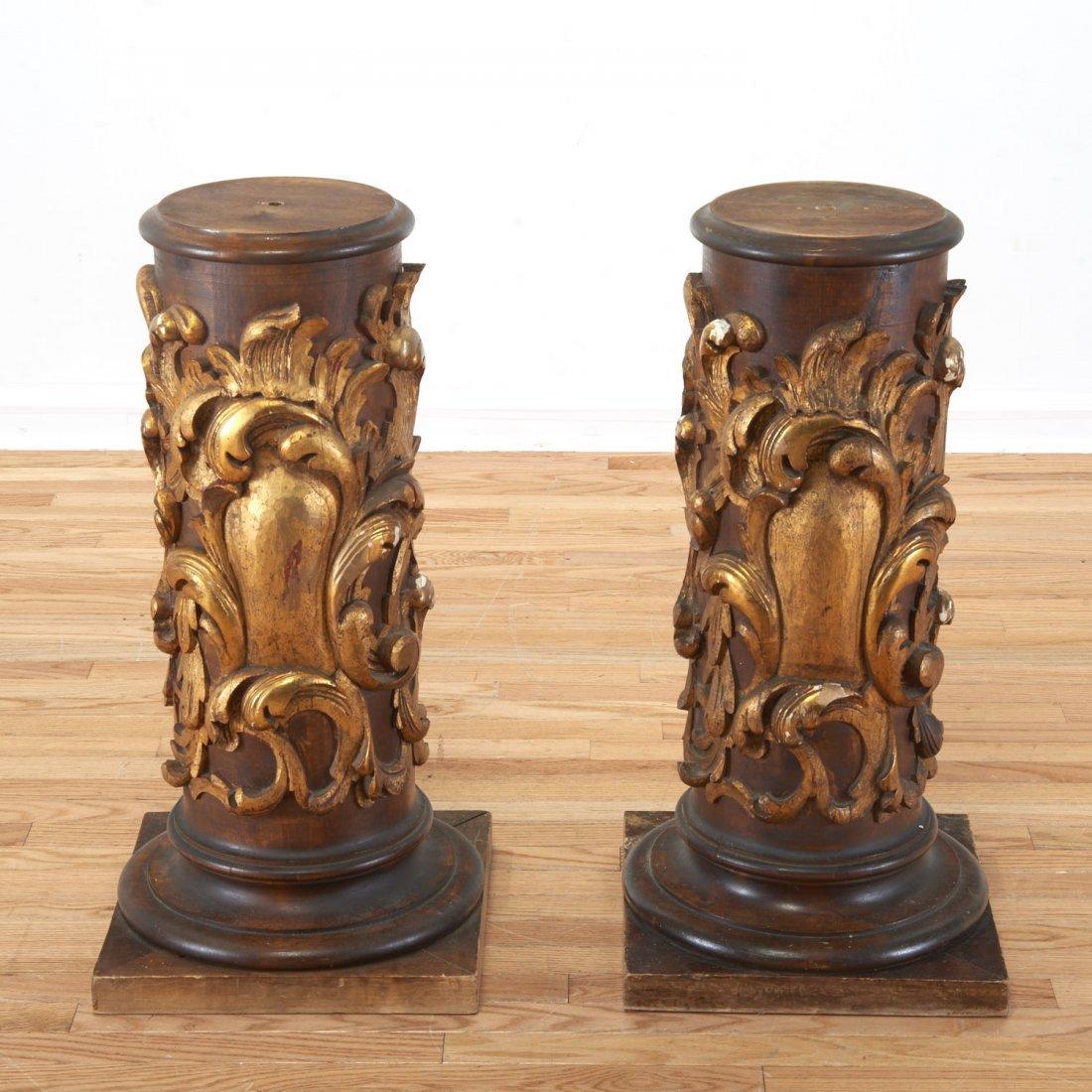Pair Spanish Rococo parcel gilt wood pedestals