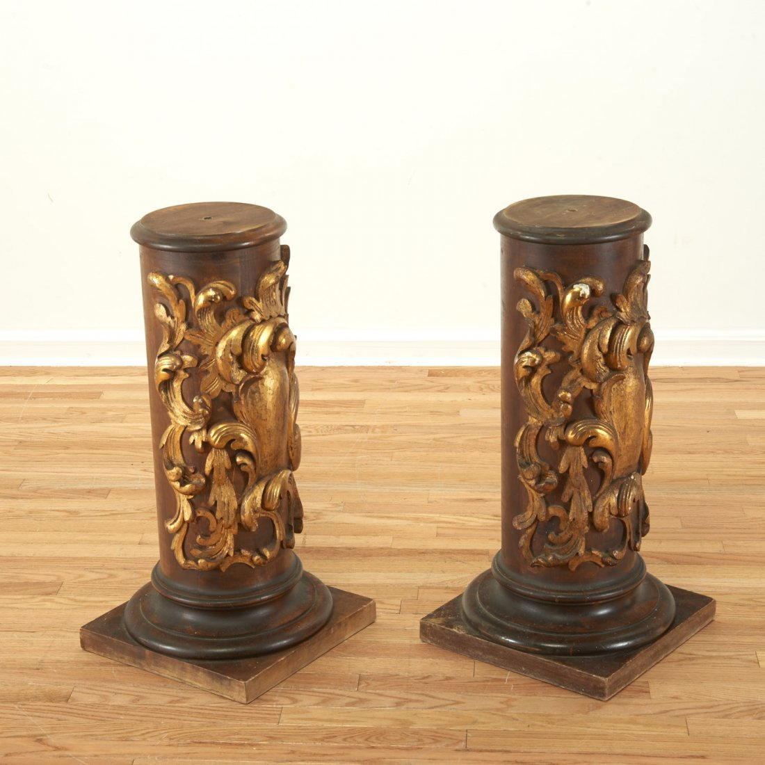 Pair Spanish Rococo parcel gilt wood pedestals - 2