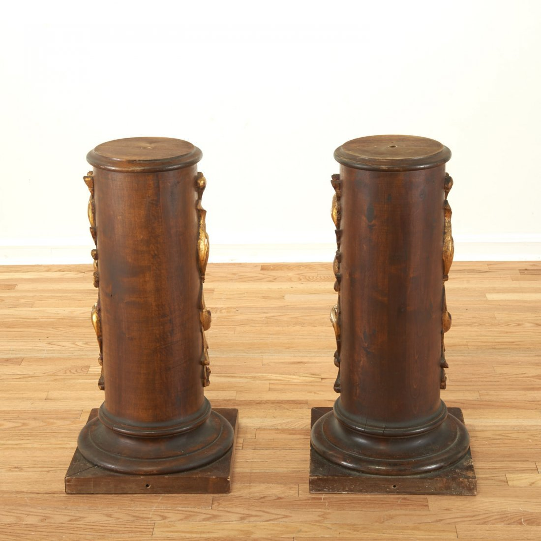 Pair Spanish Rococo parcel gilt wood pedestals - 3