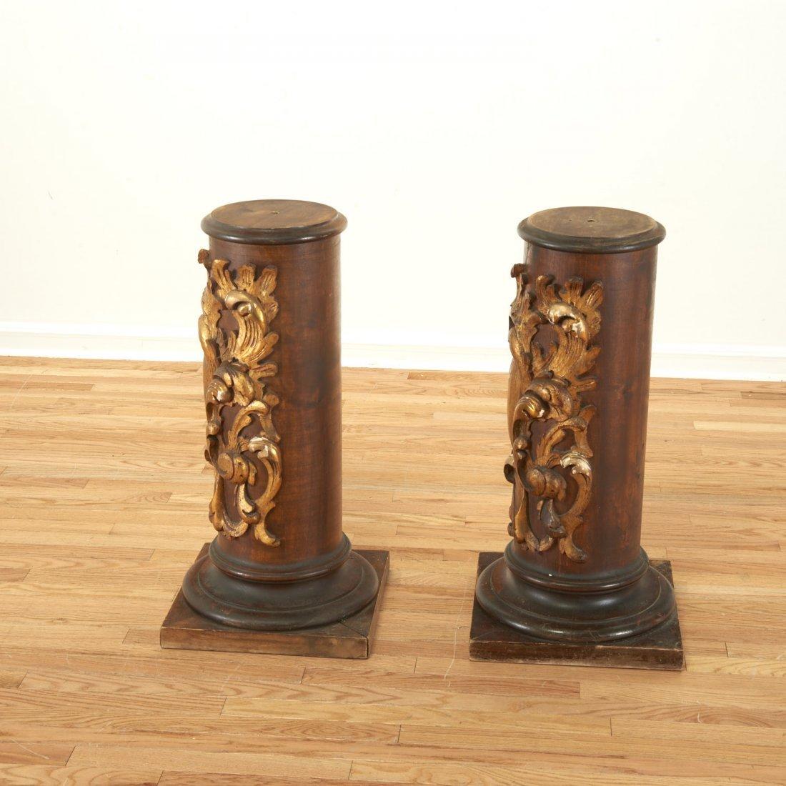 Pair Spanish Rococo parcel gilt wood pedestals - 4