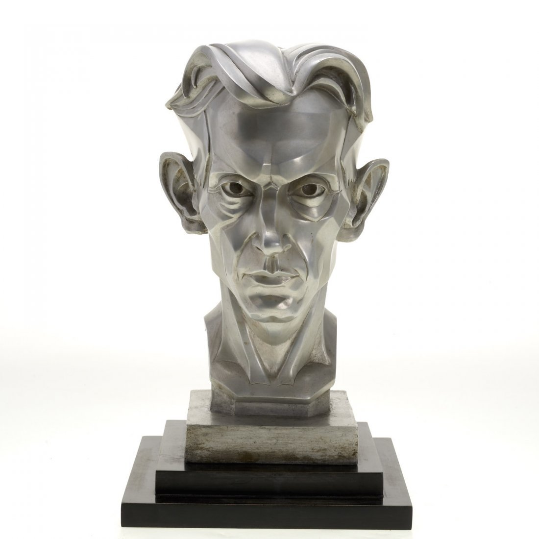Art Deco silver toned metal portrait bust