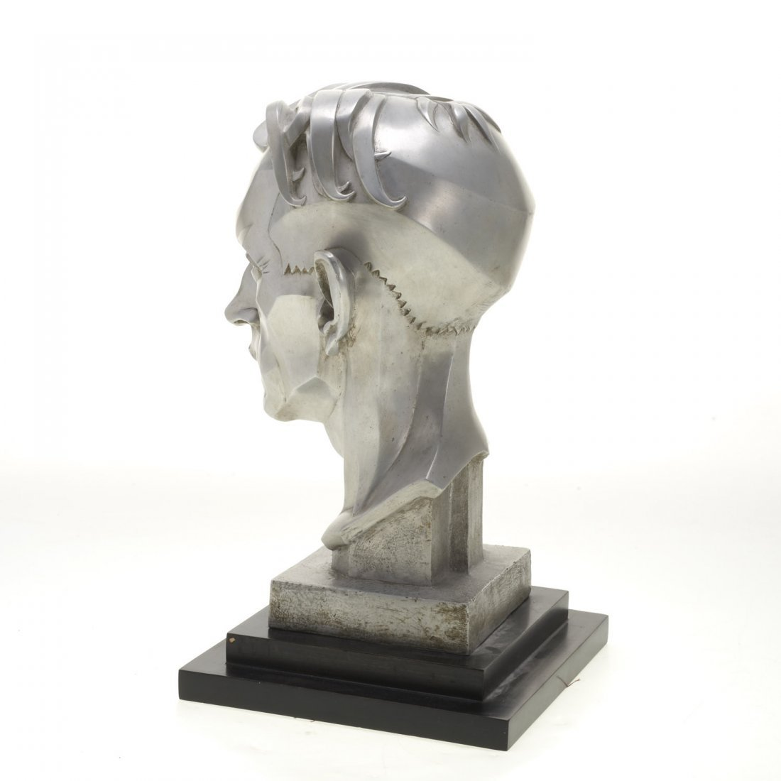 Art Deco silver toned metal portrait bust - 4