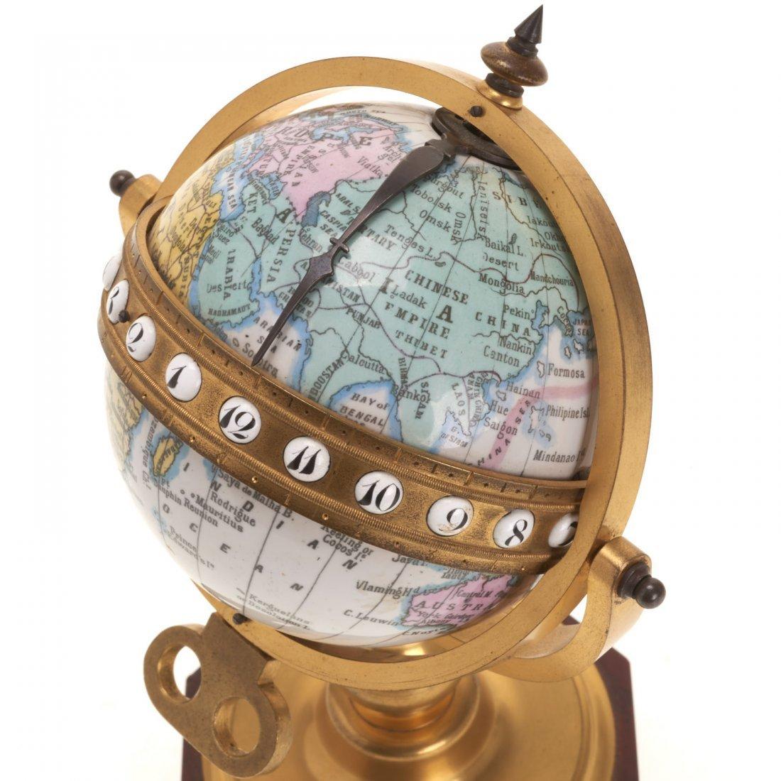 French bronze mounted enameled globe clock - 3