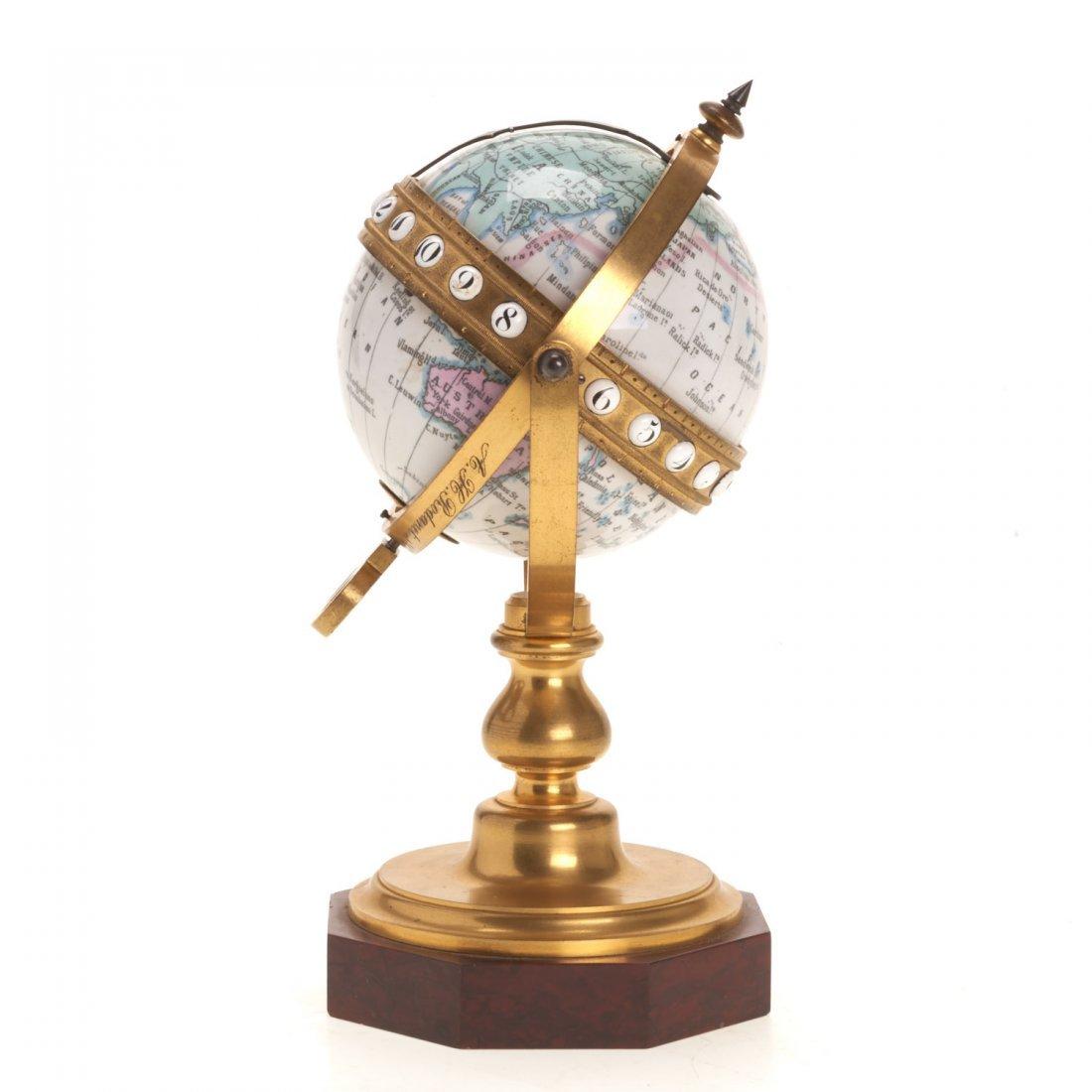 French bronze mounted enameled globe clock - 4