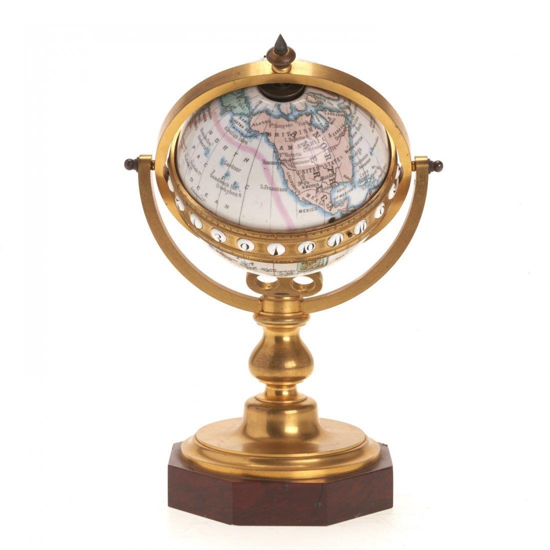 French bronze mounted enameled globe clock - 5