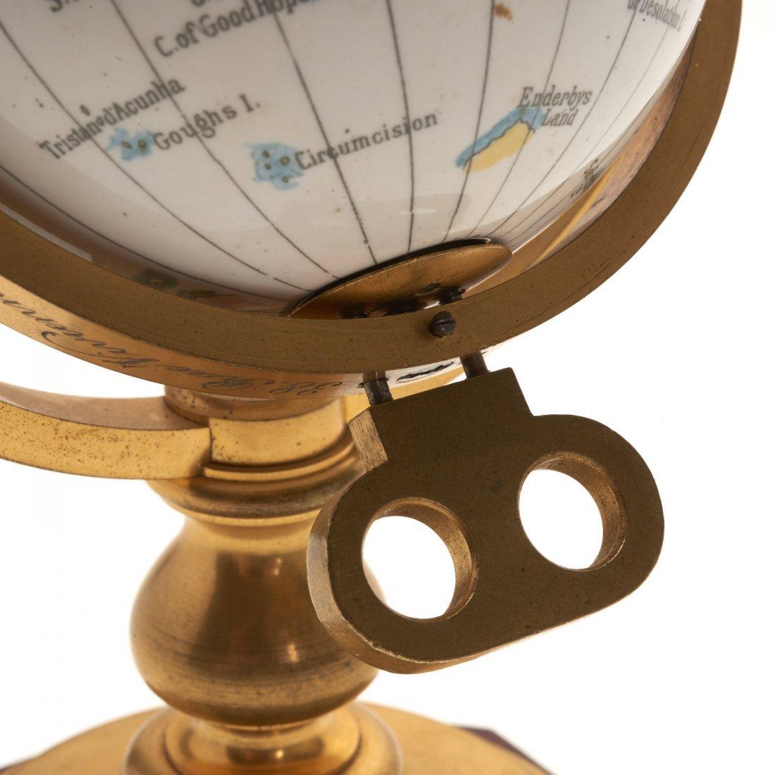 French bronze mounted enameled globe clock - 6