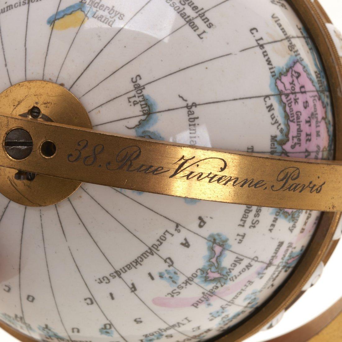 French bronze mounted enameled globe clock - 7