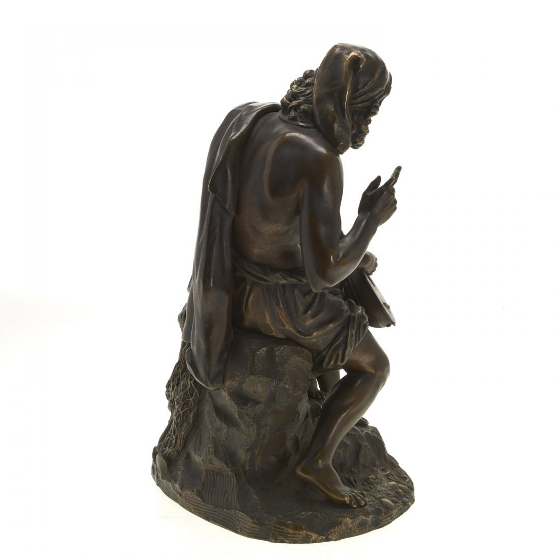 Antique Continental bronze of man, child and lute - 6