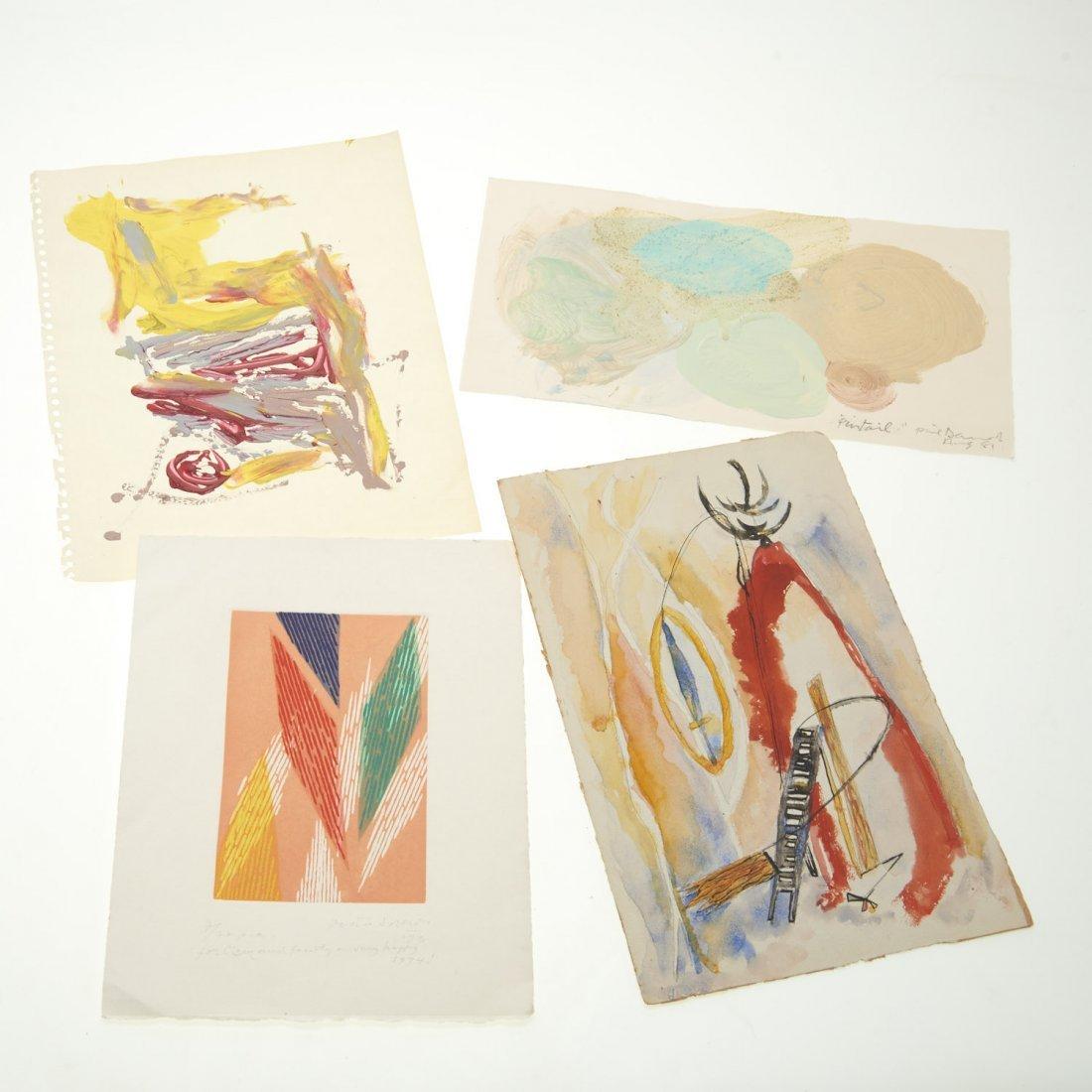(4) Abstract paintings on paper inc. Piero Dorazio