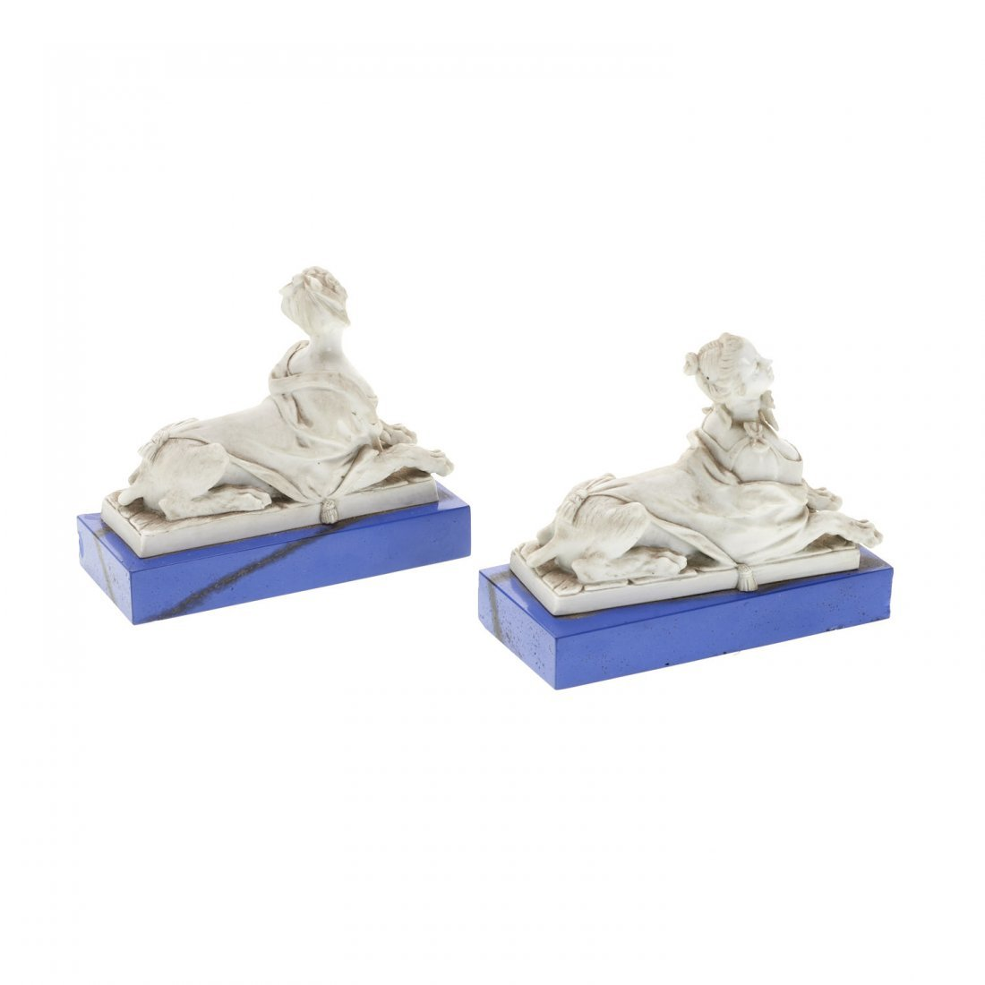 French white porcelain animorphic book ends - 3