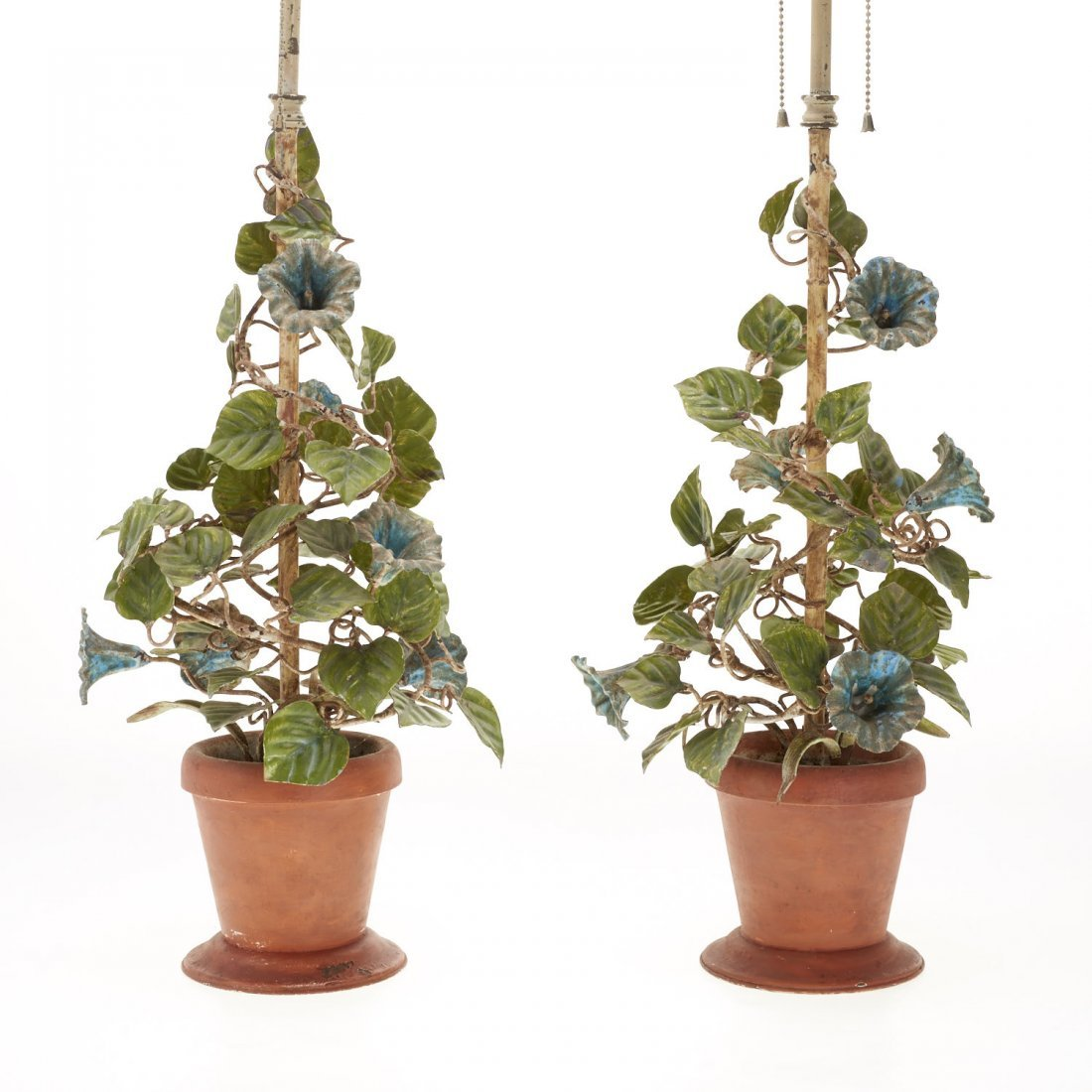 Pair Italian painted tole floral table lamps