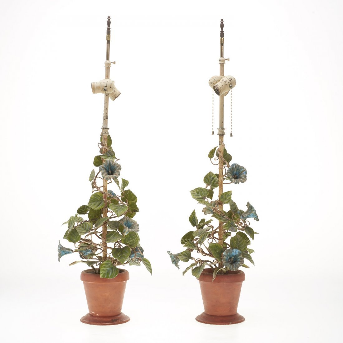 Pair Italian painted tole floral table lamps - 2